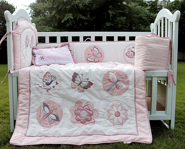 4 item baby girls bedding set embroidery character crib bedding set pink cot bedding set quilt bumper cushion pillow kids boys bedding quilts for boys beds - Baby Girl Bedding Sets