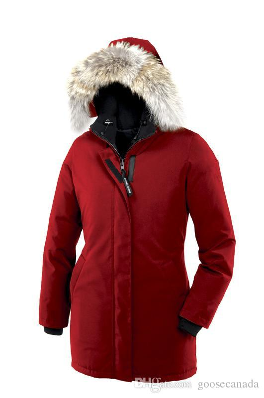 Canada Women Victoria Femme Outdoors Fur Down Jacket Hiver Warm Windproof Goose Down Coat Thicken Fourrure Hooded Jacket Manteaus Doudoune