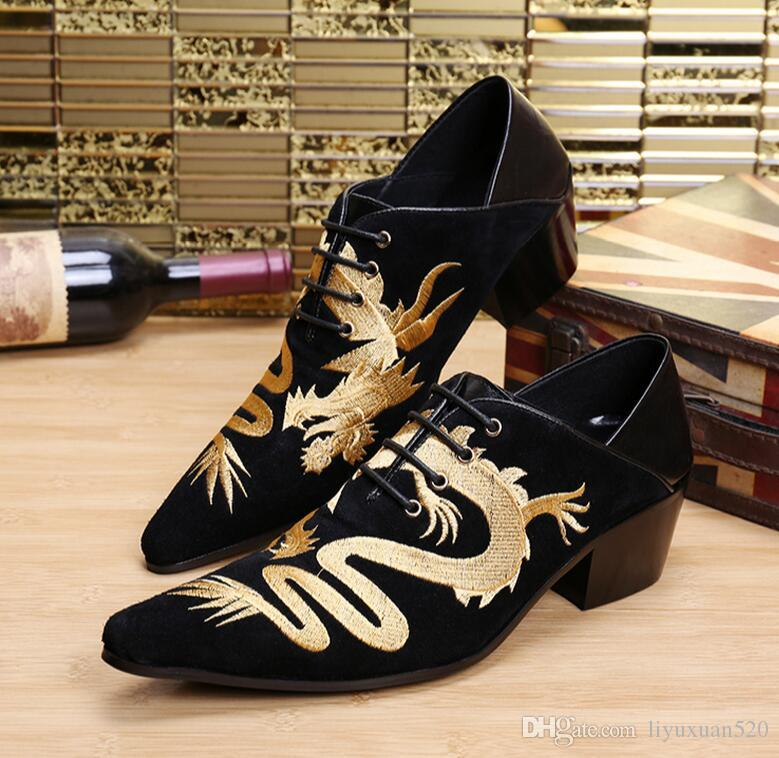 New Hot 2016 Chinese Dragon Embroidery Men Dress Shoes Wedding Oxfords  Mocassin Homme Black Genuine Leather Italian Men Shoes Walking Shoes Flat  Shoes From ... eb7497078fdd