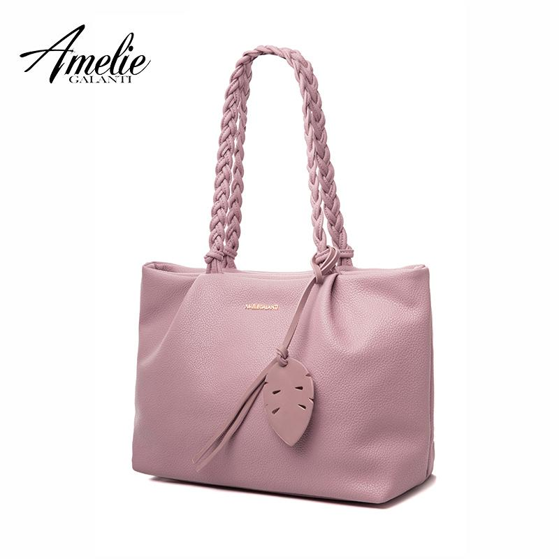 2cbb2bd3474 Wholesale- AMELIE GALANTI New Fashion Women Shoulder Bags Famous Design  Handbag Casual Totes Pu Solid Soft Criss-cross Office Lady Shopping Famous  Designer ...