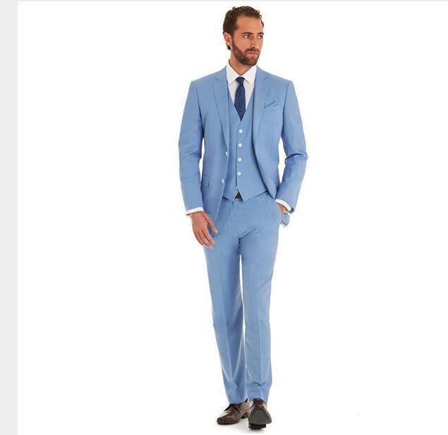 Online Cheap New Design Of Men'S Suit Romantic Light Blue Suit ...