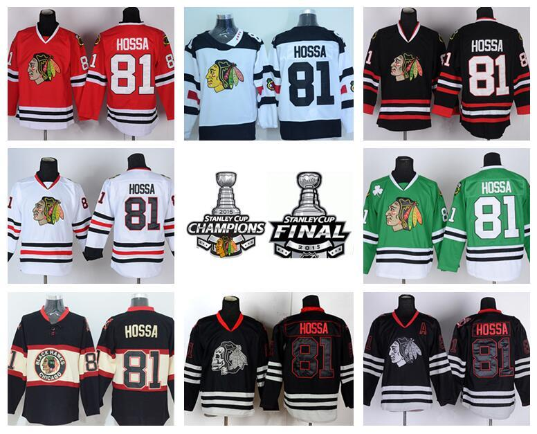 best website 1e8fd 7584a Chicago Blackhawks Winter Classic 81 Ice Hockey Marian Hossa Jerseys Team  Color Red White Green Black Ice Skull