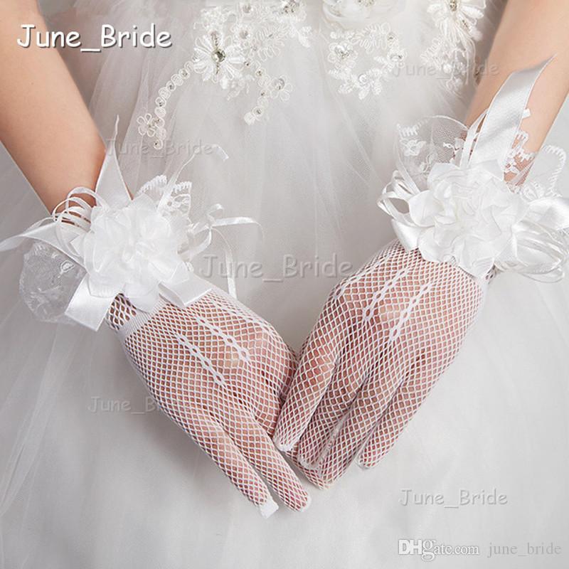 Romantische Spitze Handgelenk Länge Spitze Brauthandschuhe Kurze Illusion Vollfinger Handgemachte Blume Hochzeit Handschuhe Rot Weiß Farbe Neue Art