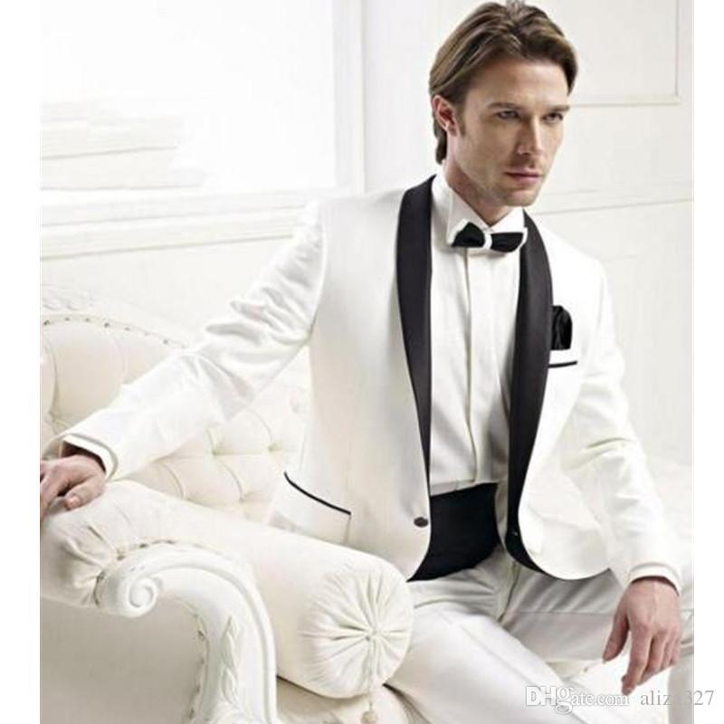 Bespoke Men Wedding Groom Tuxedos Groomsmen Best Man Suit Shawl Lapel Men Tuxedo chinese collar suit jacket + pants