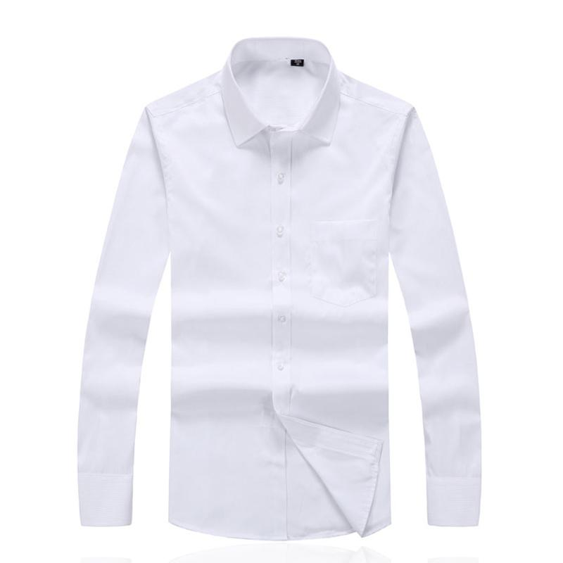 4ae026eca93 2019 Wholesale Men Formal Shirts Long Sleeve Dress Shirts For Male Social  Cotton Blouses White Chemise Homme Custom Clothes Plus Size 4XL S201 From  Longmian ...