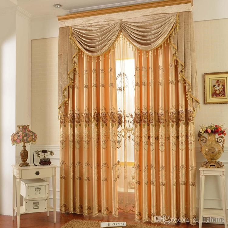 Dhl 2016 New Golden Modern Fashion Sheer Curtain Embroidered Curtains For  Living Room Window Bedroom Customized Size Blackout Curtains Semi Sheer  Curtains ...