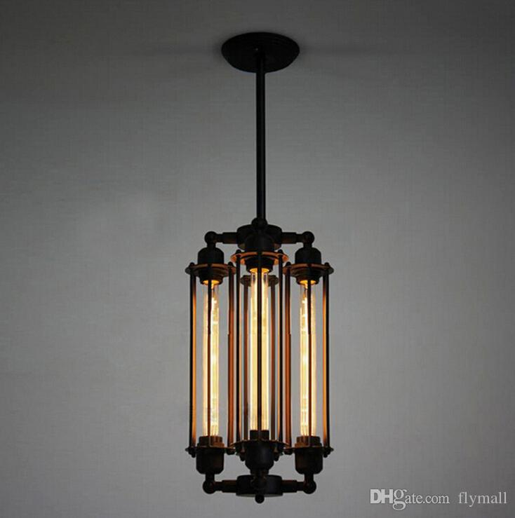 Edison Vintage Pendant Lamp Loft Wrought Iron Chandeliers Dining Room Retro Flute Hanging Lamp Indoor Lighting Fixture 110V-240V Edison Bulb
