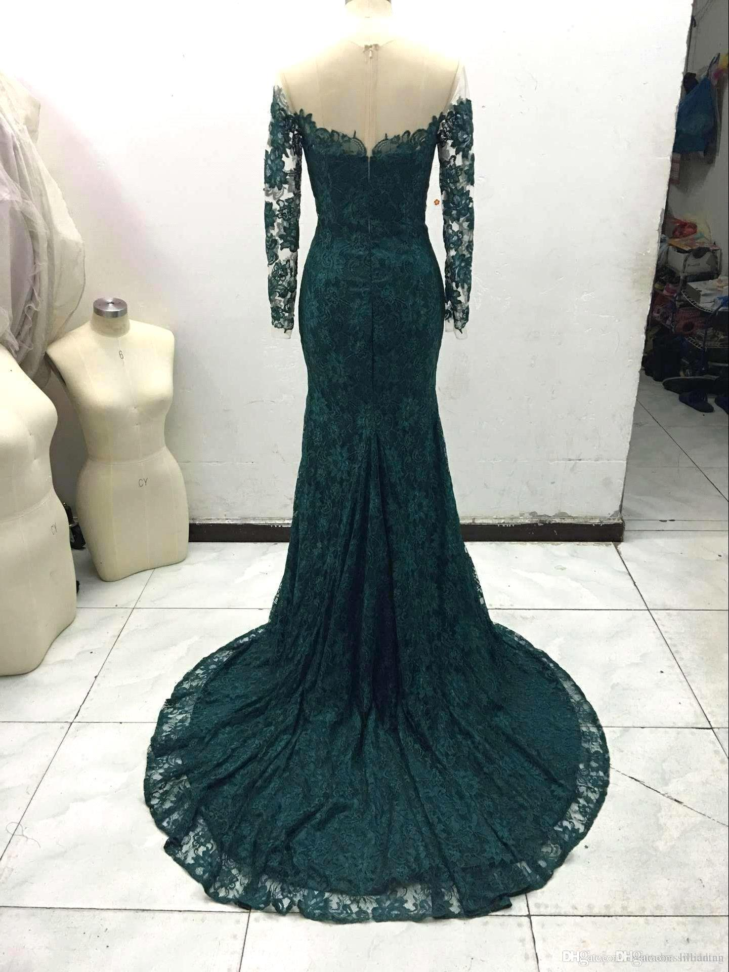 Neue Ankunft Elegante Grüne Spitze 2016 Meerjungfrau Langarm Prom Kleider Sexy Sheer Emerald Formale Abendkleider Party Kleider vestido de festa
