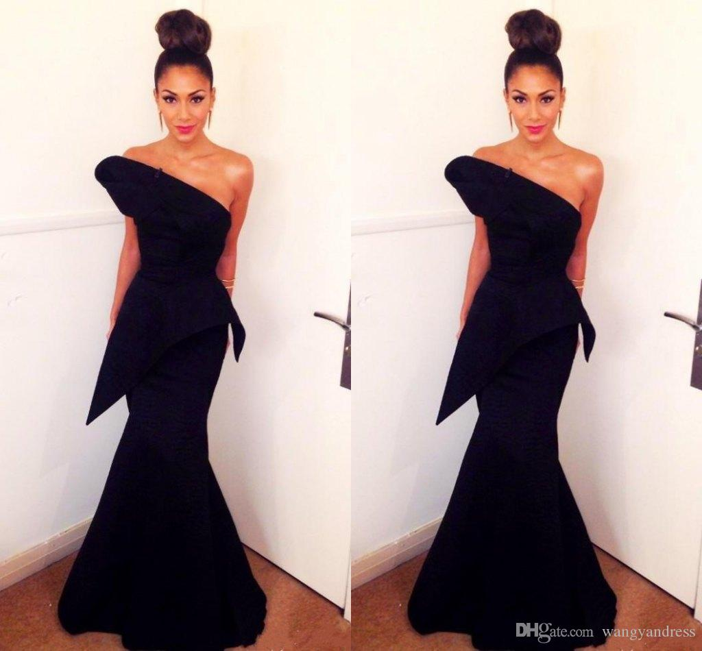 2018 Simple Cheap Dark Navy Mermaid Prom Dresses Sexy Strapless Backless Evening Gowns Floor Length Prom Dress