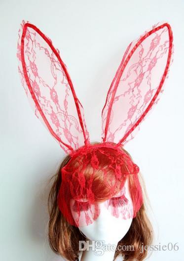Cosplay Rosto Eye véu Máscara Headband coelho coelho longo ouvido hairband Halloween festa de Natal vestido extravagante bola Masquerade adereços novo presente
