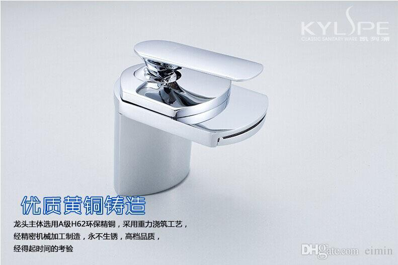 Widespread Basin Faucet Single Handle Sink Mixer Tap Deck Mounted Chrome The waterfall faucet Flat mouth water