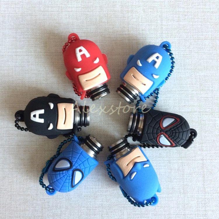 Resin Tropfspitzen 510 Proof Staub Tropfspitze Batman Spiderman Captain America Staubdicht Chuff Kunststoff Silikonkappe für Zerstäuber RDA Vape Ecig