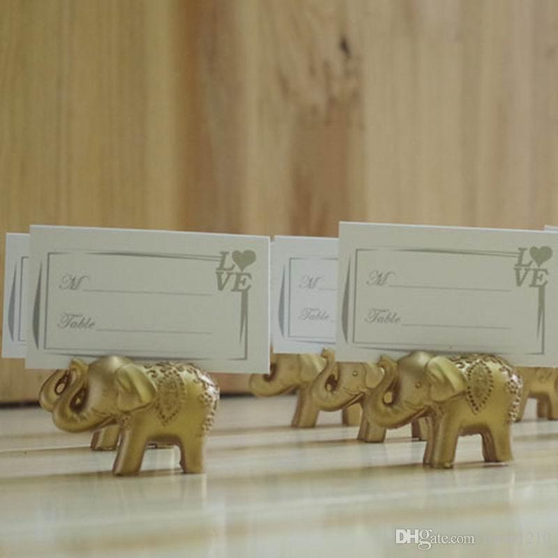 Gratuit DHL Livraison chanceux Golden Elephant Lieu Card Porte-Favors décoration de mariage Porte-cartes Nom