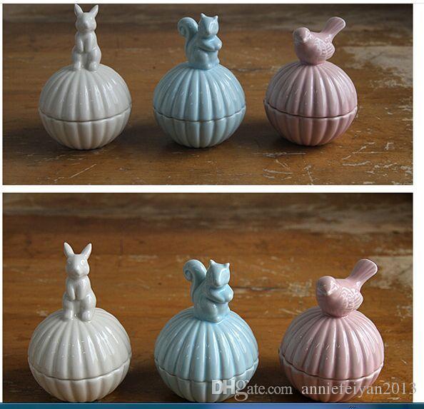 8 * 8 * 11CM Zakka Porcelaine Créatif Animal Maison Organisation Artisanat Cadeaux Divers Produits de Bricolage / Stockage de Bijoux Organisateur Boîte de Cas Bins Armoires