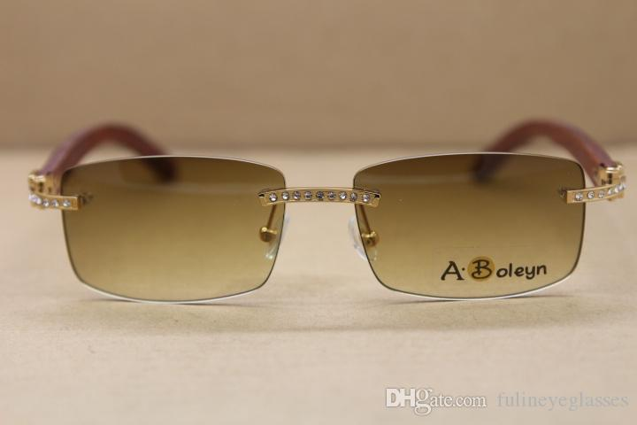 도매 새로운 큰 다이아몬드 8,200,757 썬은 무테 장식 나무 프레임 남성 무료 배송 선글라스 프레임 크기 안경 : 56-18-135mm