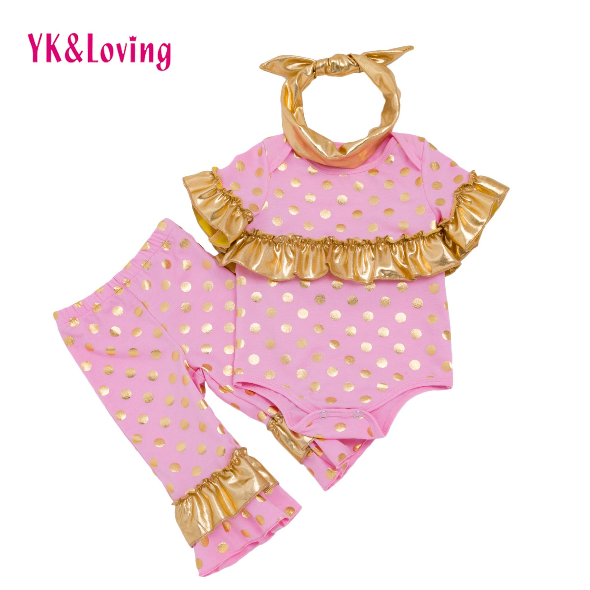 Baby Girl Clothing Sets Infant Toddler Ruffle Sleeve Romper Pants