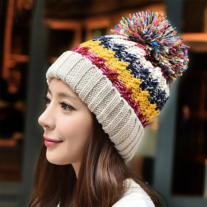 Wholesale Women Motley Color Wool Pom Hem Thick Knitted Fluffy Winter Warm  Striped Casual Skullies Jacquard Weave Toboggans Hats Beanies Beanies For  Men ... d38ff9f42292