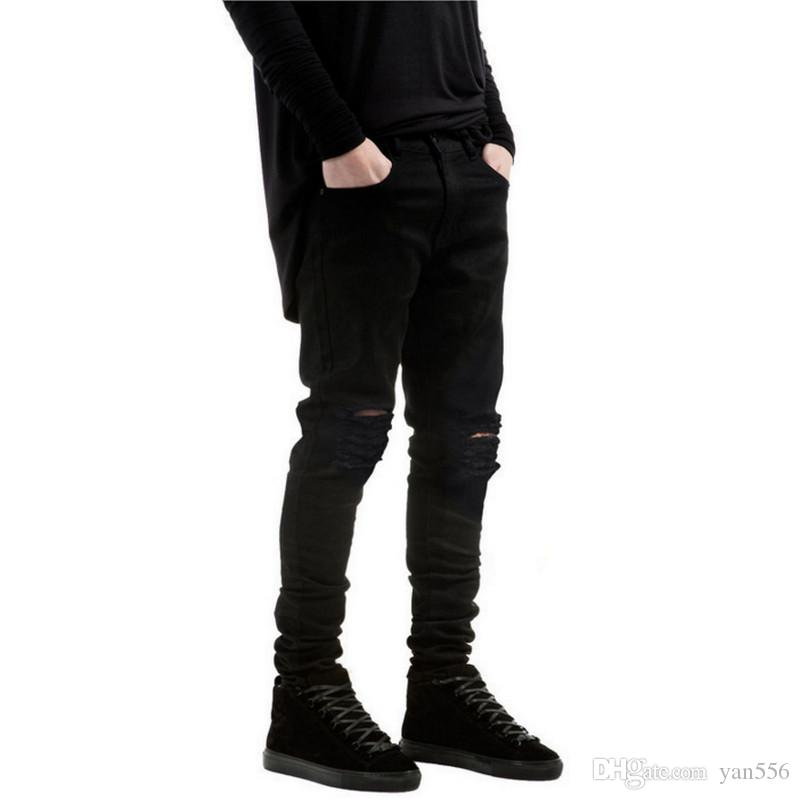 2017 2017 New Black Ripped Jeans Men With Holes Denim Super Skinny ...