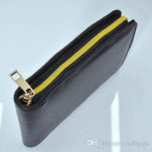 Высококачественная застежка-молния черная / коричневая искусственная кожа с высокой емкости карандашные сумки для шариковой ручки / фонтана ручка / функциональная ручка удобный карандаш