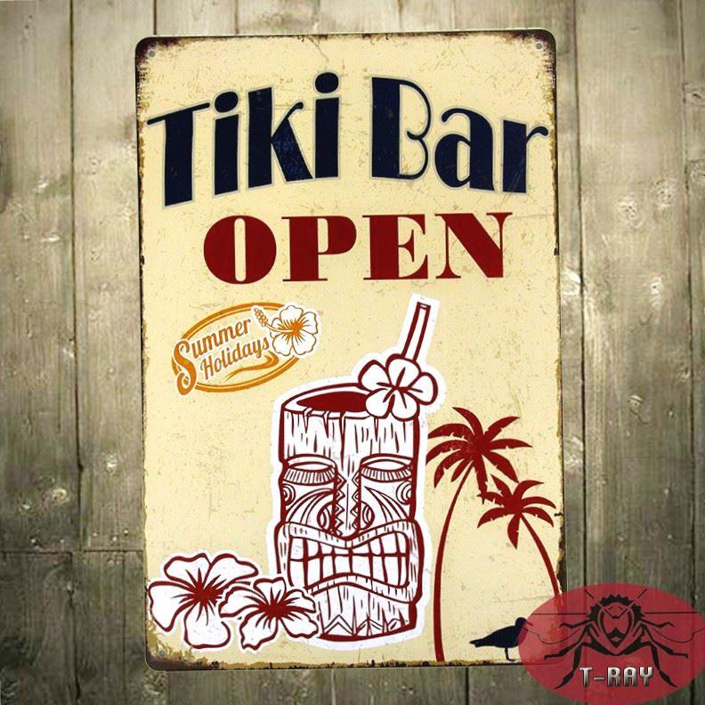 TIN SIGN TIKI Bar Open Metal Decor Wall Art Soda Shop Store Kitchen ...