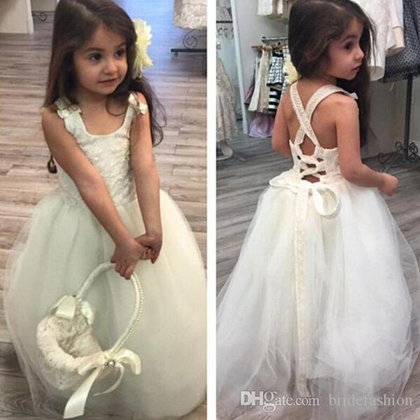 Ivory lace ups back tulle spaghetti beads bow beads flower girls pageant dresses teen formal toddler for little girls glitz cupcake