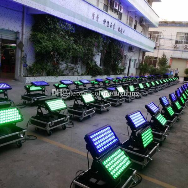Envío gratis de alta calidad 120X18W Silent IP65 impermeable RGBAW UV 6in1 de alta potencia LED Wall Washer luces LED al aire libre con flight case