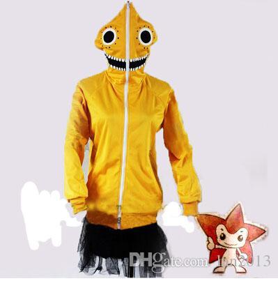 Ücretsiz kargo! Yeni Vocaloid V + Matruşka Gumi Cosplay Kostüm Spor Coat Spor Sarı Tops
