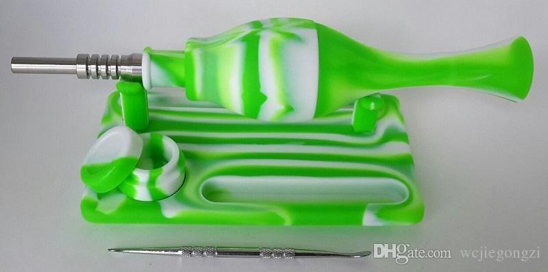 kit de silicona NC Tool Kit Paja y Dab 14mm aceite punta de titanio conjunta Plataformas Tubos de agua Micro vidrio en stock