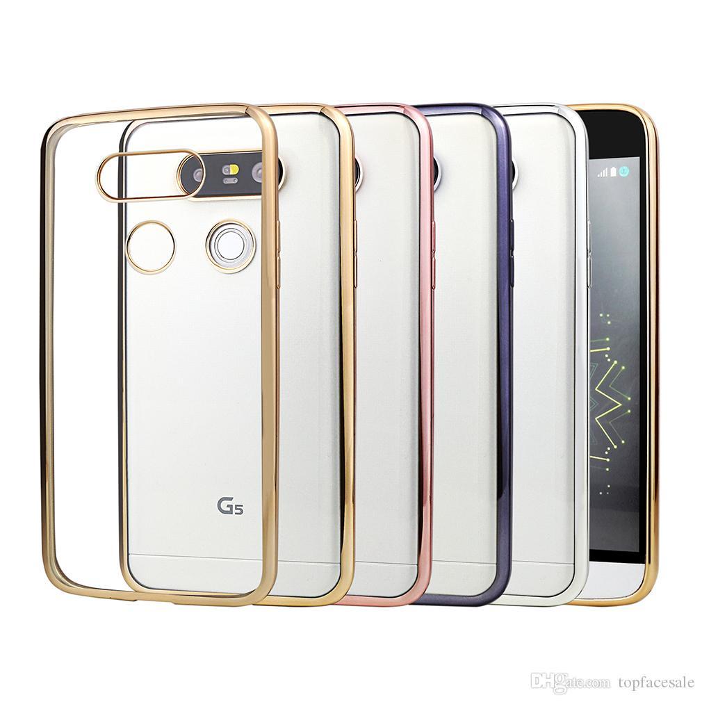 De alta qualidade de luxo ultra fino de cristal de galvanização de chapeamento de borracha tpu soft mobile phone case para lg g2 g3 g4 g5 g6 mini bat ...