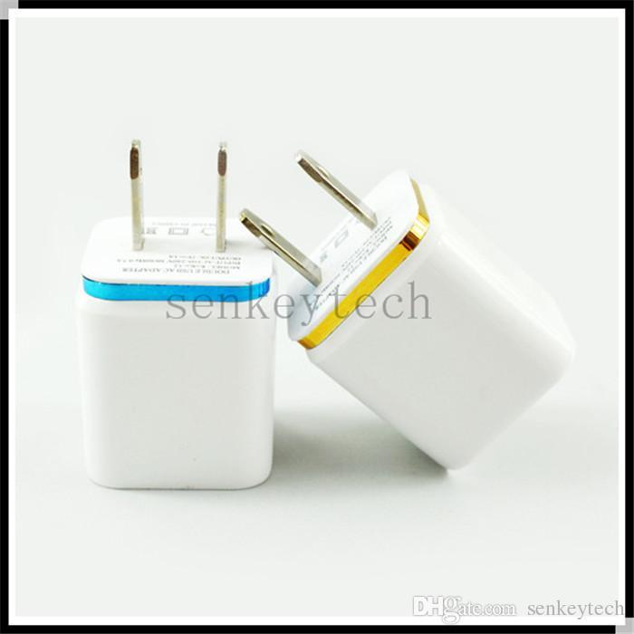 5 V 2.1A1.0A Duplo USB AC adaptador de carregador de parede de viagem em casa com portas duplas UE EUA plugue 5 cores carregadores de telefone celular DHL Frete Grátis