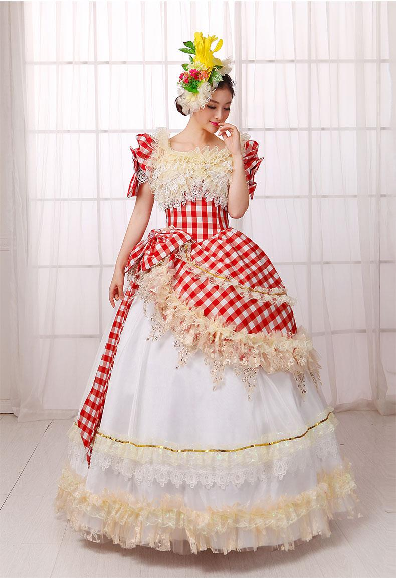 Red Check Pattern Lace Ruffled Ball Gown Bowknot Medieval ...