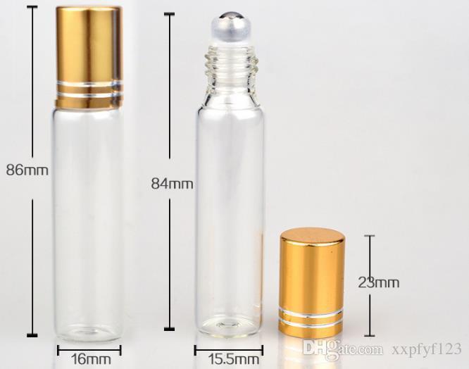 10ml transparente frasco de vidro frasco vazio claro recarregável atomizador de perfume com esferas de aço amostra portátil frascos b706