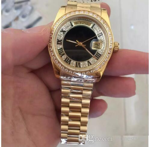 Compre AAA Marca De Lujo Hombres Relojes Oro 18K Oro Para Hombre Reloj  Automático Completo Cara De Diamantes Zafiro Correa Original Para Hombre  Relojes 36mm ... 68c206969e0f