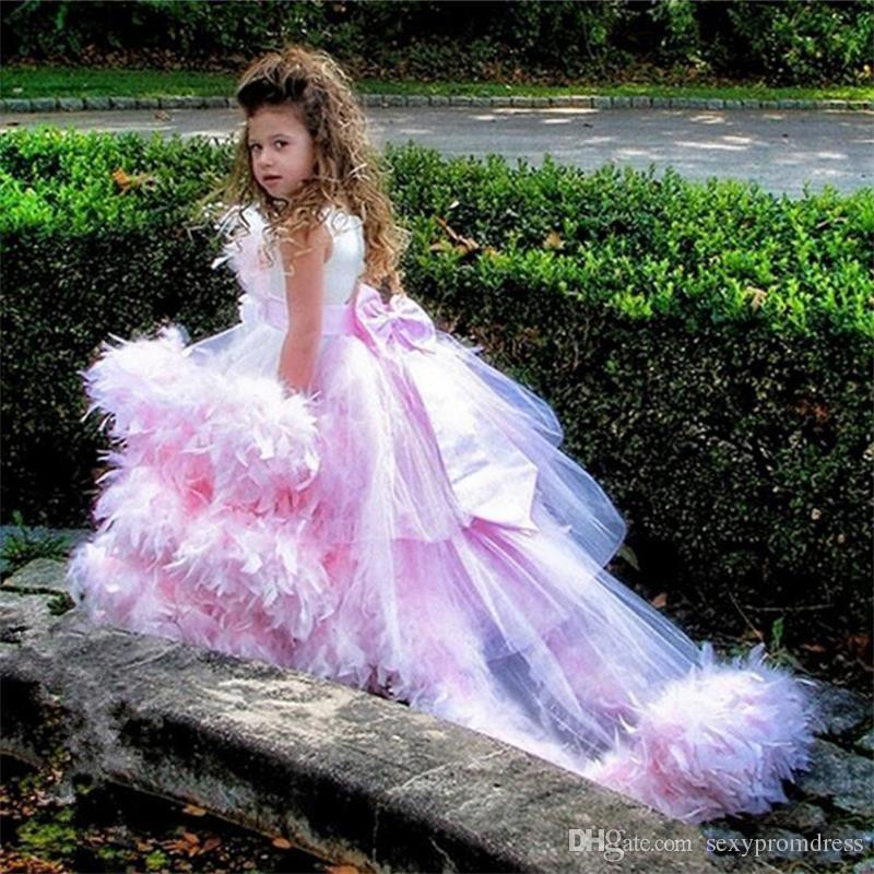 Büyüleyici Pembe Balo Çiçek Kız Elbise Lüks Tüyler Sweep Tren Tül Kızlar Pageant Elbiseler İlk Communion elbise Custom Made