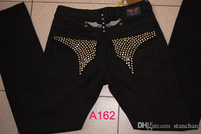 Ücretsiz Kargo Erkek Robin Rock Revival Jeans Kristal Studs Denim Pantolon Tasarımcı Pantolon Erkek büyüklüğü 30-42 Yeni