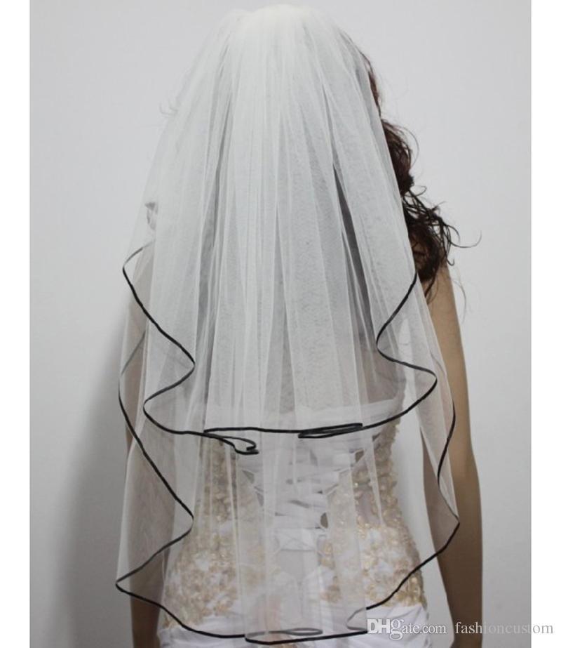 Hohe Qualität Einfache Schwarz Satin Edge 2 T Mit Kamm Weiß Elfenbein Schwarz Ellenbogen Länge Brautschleier Brautschleier mit Kamm