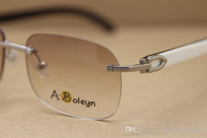 New Rimless T8100624 Black White Buffalo Horn Sunglasses brand designer Gold Glasses Frame Size:56-18-140 mm