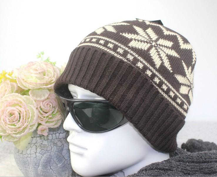 2016 Mens Skullies winter hats mask beanie knitted wool hat cap Thicker Snowflake bonnet caps for men x'mas christmas gifts