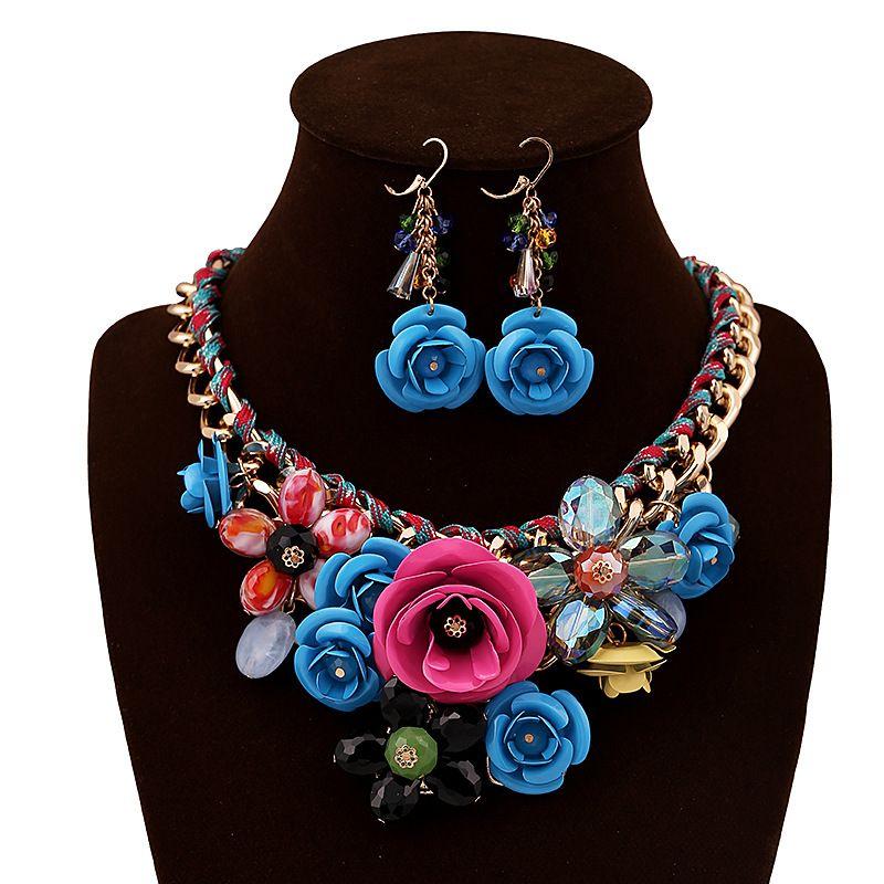 Ensembles de bijoux à la mode Femmes Fleur Blanc K Collier Boucles d'oreilles Ensembles de bijoux Ensemble de plaque en or rose émail cristal Boucle d'oreille / collier / anneau