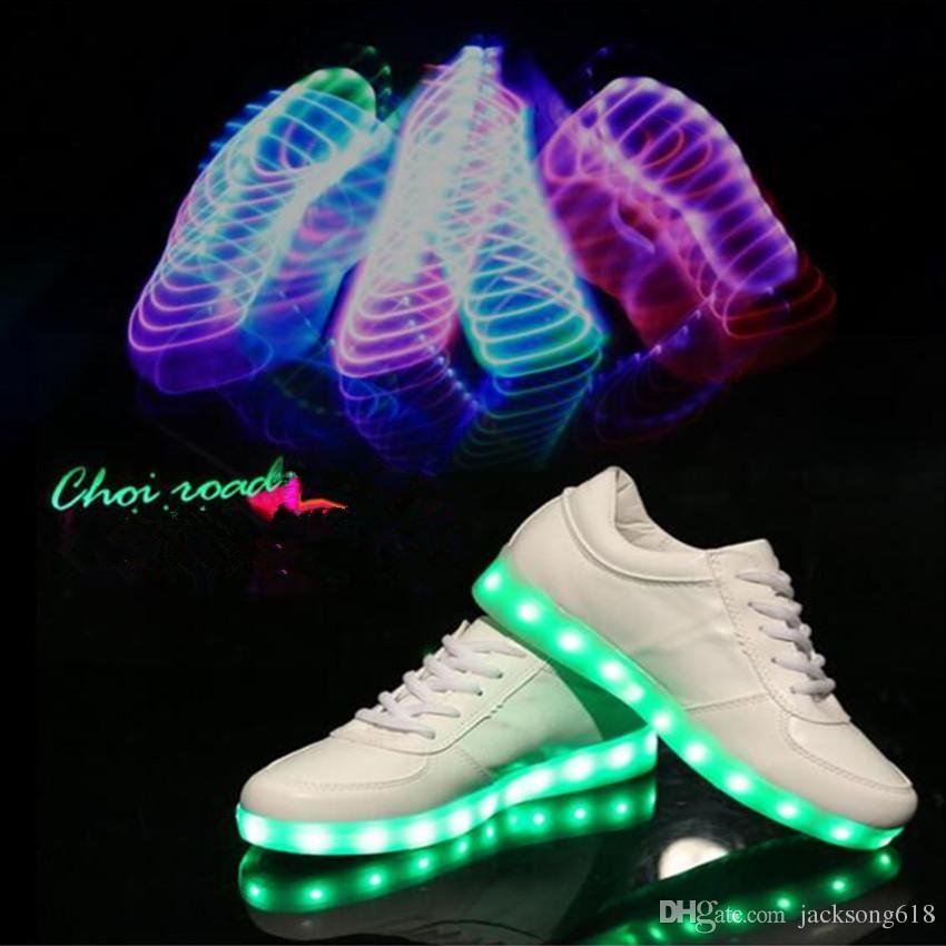 Bestseller LED Light Shoes PU Leather Girls Sneakers Women Led Shoe USB Luminous Footwear Fashion LED Shoes Size 35-46