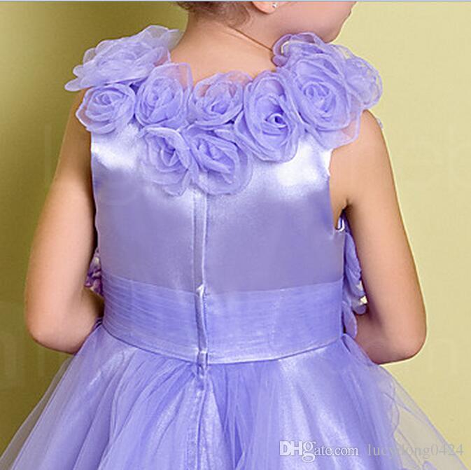 Yeni Güzel Tül Kolsuz El Yapımı Çiçekler Jewel Dantela Çiçek Kızların Elbiseleri Kız Pageant Elbiseler