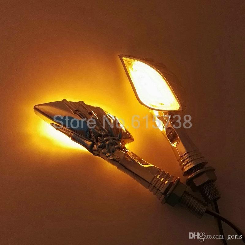 2 x luz de giro da motocicleta universal 12 v crânio esqueleto da motocicleta mão levou turno sinal de luz para yamaha honda