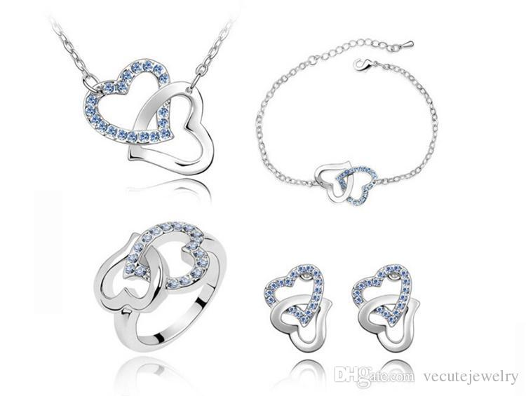 18K White Gold Plated Double Austrian Crystal Heart Necklace Earrings Ring Bracelet Jewelry Set Made With Swarovski Elements for Women