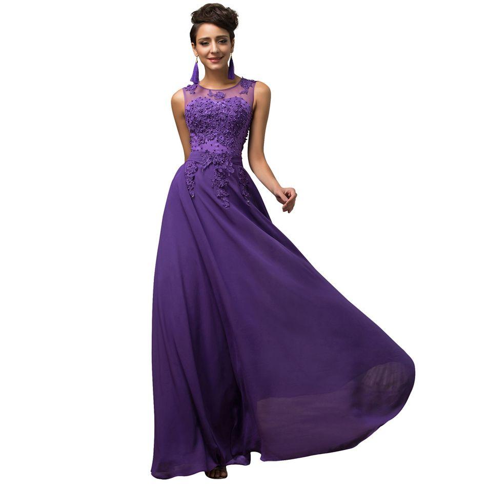 Cheap Long Evening Dress 2016 Fashion Purple Prom Dress Long A Line ...