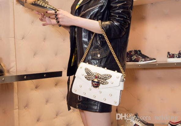 Factory brand handbag lovely Rhinestone chain bag elegant woman bee pearl decorative leather shoulder bag women bag small fresh pearl spring