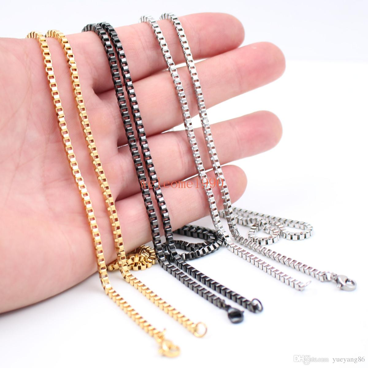 5pcs lot Wholesale 2.4mm Box Chain Necklace Stainless Steel Men's Women Jewelry Silver / gold / black 18 inch-32 inch in bulk