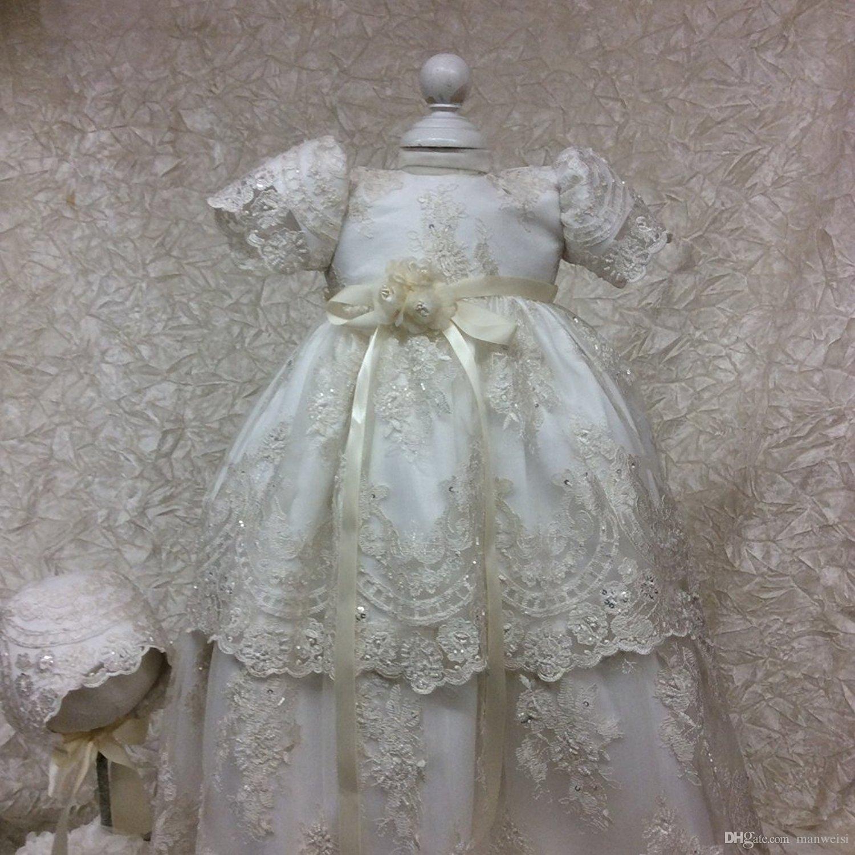 Vintage kanten doopjurken voor baby meisjes korte mouwen geappliceerd kralen doop jurken met monnet eerste communicatie jurk