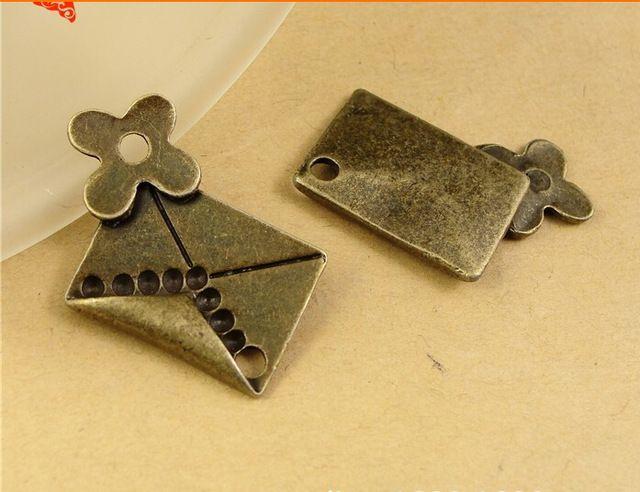 A1237 26*21MM Antique Bronze Retro flowers envelope charm mobile phone DIY accessories, love letters charm pendants nickle free beads