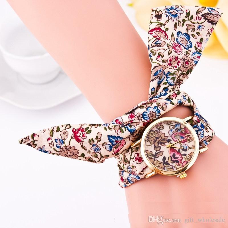 5 Styles Geneva Ladies flower cloth wristwatch fashion women dress watch high quality fabric watch sweet girls Bracelet watch