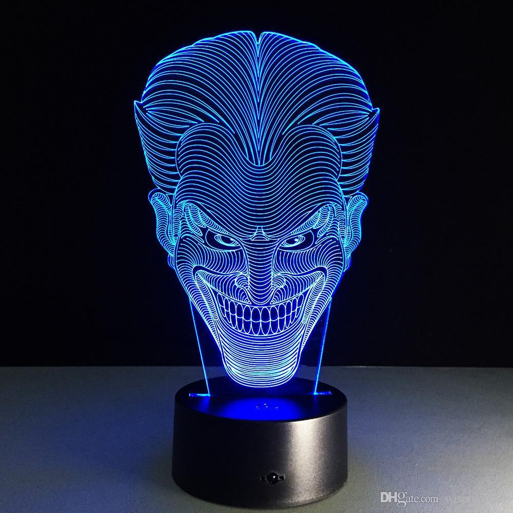 2018 joker 3d optical illusion lamp night light dc 5v usb charging aa battery wholesale. Black Bedroom Furniture Sets. Home Design Ideas